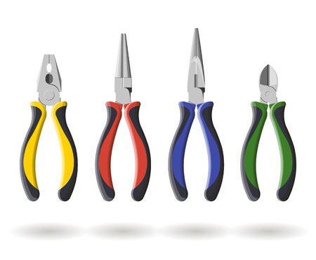 Set of three different types of pliers and sidecutters, vector illustration