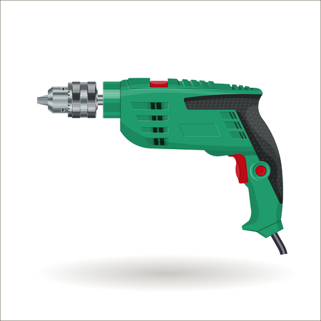 Electric drill, realistic  illustration, isolated on white background