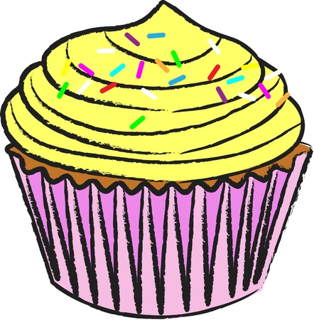 Cupcake_Lemon アイシング  イラスト・ベクター素材