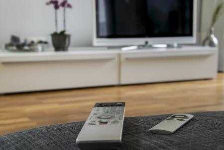 eine Fernbedienung ist auf dem grauen Sofa liegend mit dem Heimkino im Hintergrund