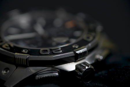 chronograph: detail picture of a used chronograph with scratches