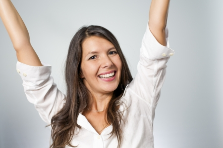 woman screaming because of winning excitement Stock Photo