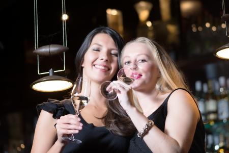 mujeres elegantes: Dos hermosas mujeres elegantes amigos en elegantes vestidos de coctel negro simple bebiendo una copa de champagne en la celebraci�n de una noche juntos