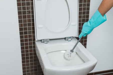 eradicate: Person wearing a turquoise rubber glove cleaning under the rim of a toilet bowl with a toilet brush to eradicate germs and bacteria during household cleaning
