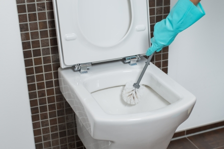 household chores: Person wearing a turquoise rubber glove cleaning under the rim of a toilet bowl with a toilet brush to eradicate germs and bacteria during household cleaning