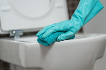 Hand of a person cleaning the toilet seat in rubber gloves with a sponge disinfecting the underside for germs and bacteria while performing household chores photo