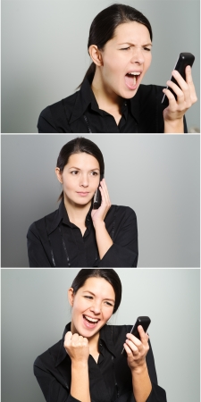 Tryptich showing a womans reactions to a phone call as she speaks on her mobile phone ranging from anger and yelling, through a normal conversation to excited jubilation and cheering Stock Photo - 24495113