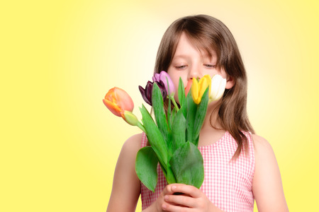 downcast: Young girl smelling a bouquet of colourful spring tulips as she holds them to her face and looks at them with downcast eyes, isolated with copy space Stock Photo