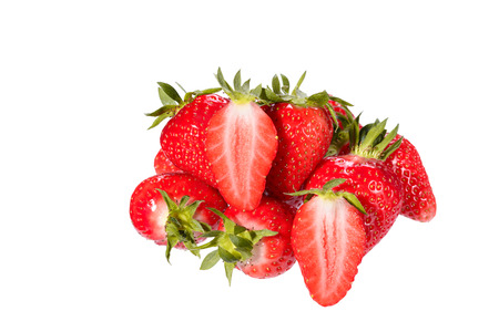 Ripe succulent red strawberries with their green stalks eaten as fresh fruity snack or as delicious ingredient for cooking