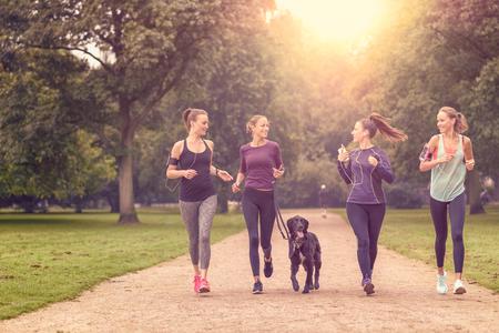 people jogging: Cuatro saludables Mujeres jóvenes a correr por el Parque de la tarde con un perro de mascota.