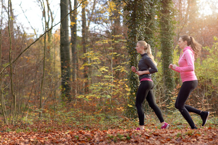 Profile view of two fit young woman jogging together through an autumn forest in a healthy active lifestyle concept