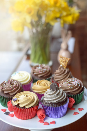 creamed: Eight deliciously sweet cupcakes covered with creamed chocolate, vanilla and various other garnishments alongside little pink heart candies Stock Photo