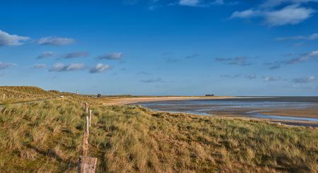 Blootgestelde estuariene moddervlakten bij laag tij in de Waddenzee bekeken over kustgrassen en een grensomheining in een toneellandschap Stockfoto