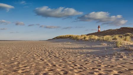 砂の低角度表示トラックのライトを夜の砂丘の背後にある灯台と人けのないビーチ 写真素材