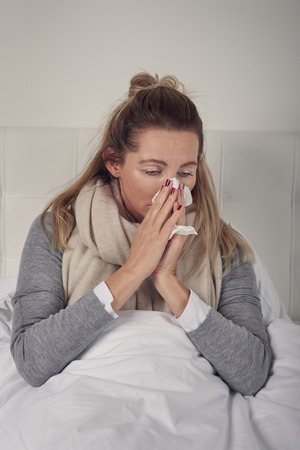 Sick woman with seasonal cold and flu lying wrapped up warmly in bed with a miserable expression blowing her nose on a tissue Stock Photo