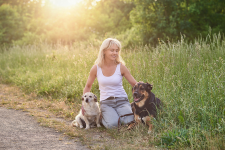 Blond woman with her two dogs in the countryside crouching down caressing them at the side of a road in long spring grass in the warm glow of the sun