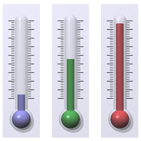 Cold, Warm and Hot Thermometers Isolated on White