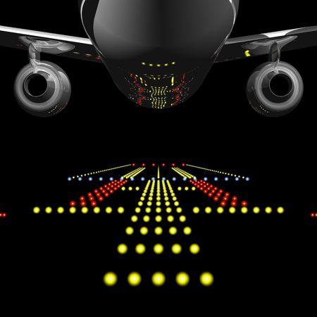 takeoff: Luci pista rispecchiato in Jet Airliner