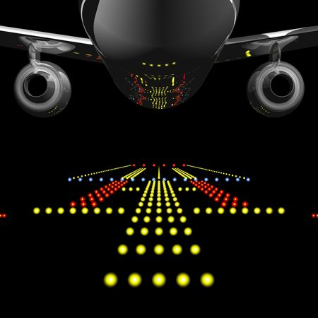 Runway Lights Reflected in Jet Airliner Stock Photo