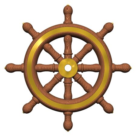 water wheel: Ships Steering Wheel Isolated on White