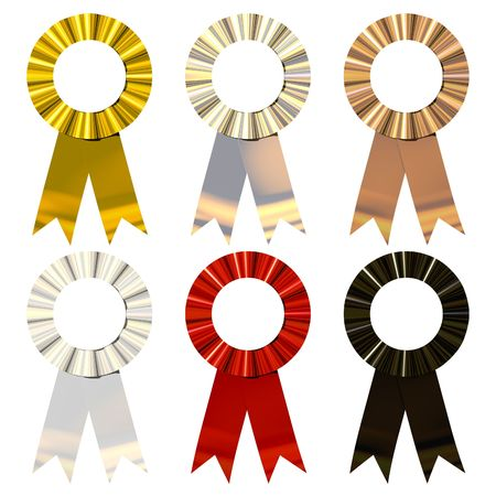 reconocimiento: Seis Popular de color met�lico Cintas Aislado en blanco
