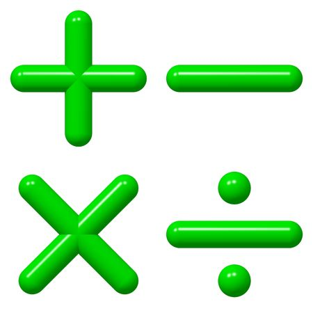 addition: Symboles math�matiques brillant isol�es sur blanc Banque d'images