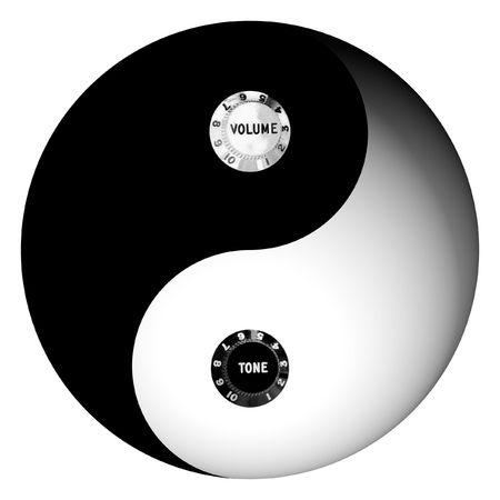 Yin Yang radio concept isolated on white Stock Photo