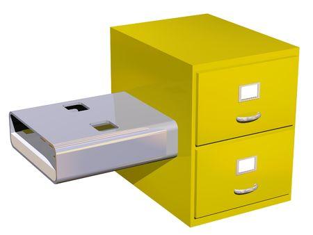 USB-archief kast concept op wit wordt geïsoleerd