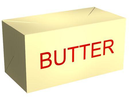mantequilla: Perfecto libra de mantequilla aisladas en blanco Foto de archivo