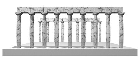 Beautiful Poseidons Temple isolated on white