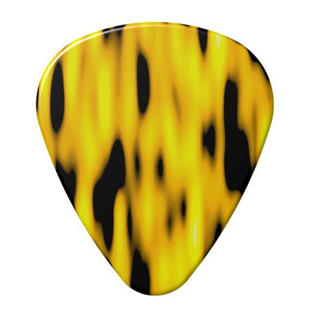 Perfect flame design guitar pick isolated on white