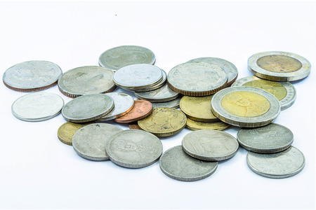silver coins: select focus of coins bath thai for pay Stock Photo