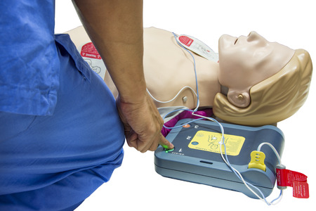cpr and aed selective focus finger Standard-Bild