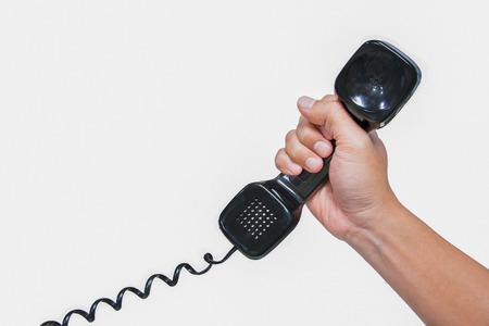 handset: telephone handset isolate Stock Photo