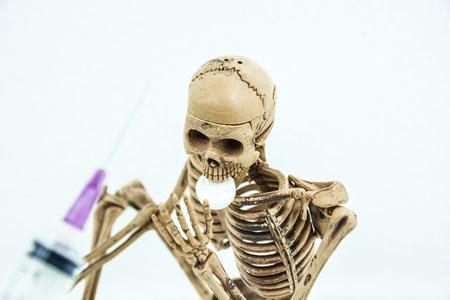 skeleton eat drug dangerous select focus of face of skeleton