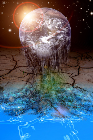 water and crack land under earth melt in universe elements furnished by NASA