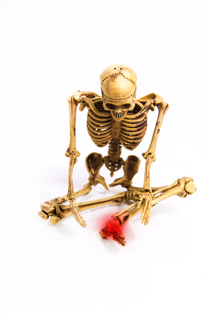 sit down: skeleton pain left wrist position sit down isolated Stock Photo