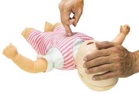 cpr bebé aislado seleccionar foco de dedo