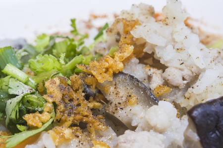 mush rice breakfast thai food vegetable meat Stock Photo