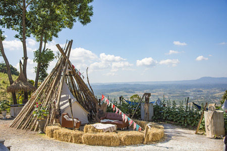 Redskins tent and view landscape at Khao Kho Thailand Stock Photo