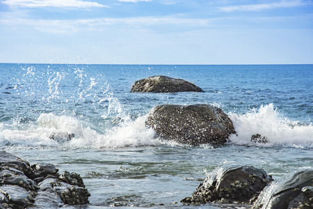 seascapes: Seascape and water splash the stone Beautiful natural summer