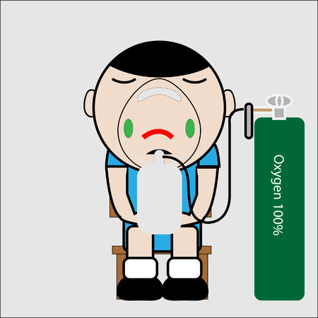 Patient on oxygen by mask with reservior bag voctor Illustration