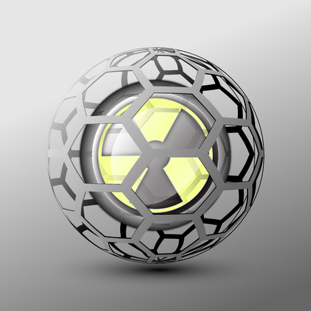 fission: yellow  nuclear weapon concept war bomb Stock Photo