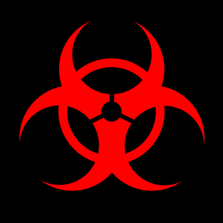 Signe rouge icône nucléaire noir fond Banque d'images - 76413011