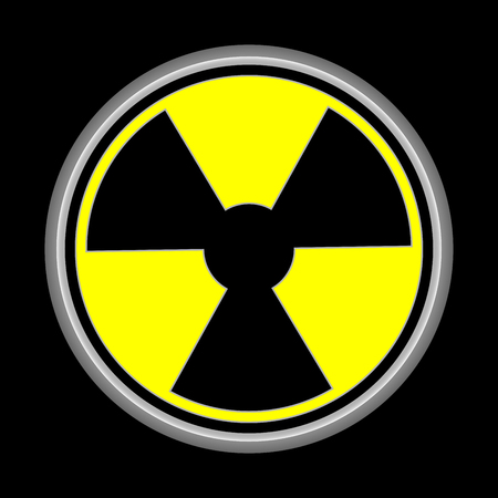 radioactive sign: nuclear logo and earth in logo icon black background Stock Photo