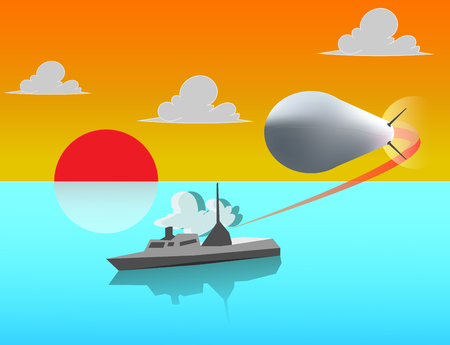 navy ship on the sea shooting missile at sun set time