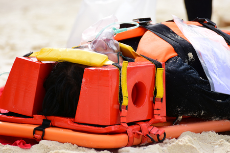 anaesthetic: patient victim drowning on oxygen mask with bag