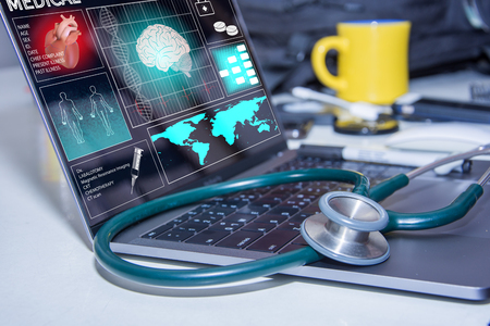 stethoscope on cpmputer heart and data patient concept healthcare