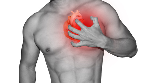 man hold left chest symtom heart attact disease