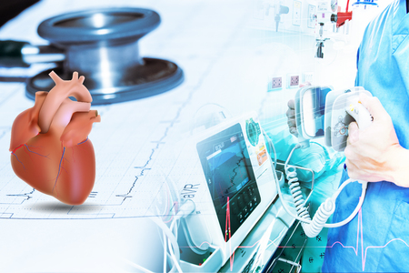 stethoscope and heart on wave ekg graph data patient and doctor use electro cardiogram machine Standard-Bild